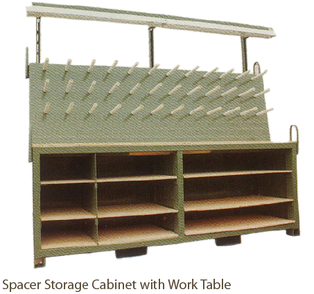 Spacer Storage Cabinet with Work Table from Coil Processing Equipment Consultants