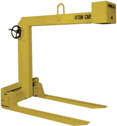 Overhead Crane Pallet Forks : Hand wheel adjustable forks